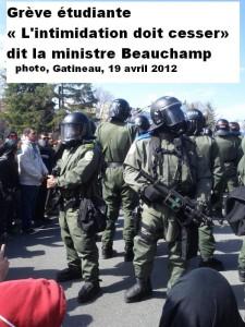 La répression policière de Québec contre les étudiants contestataires