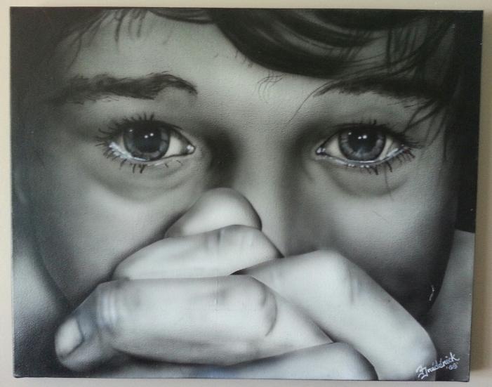 """Regard d'enfant, aérographie, 16"""" X 20"""", Frédérick Thomas"""