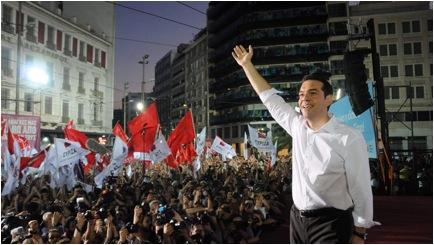 Rassemblement de la victoire des Grecs avec le parti Syriza et son chef charismatique Tsipras