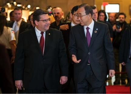 Le maire Denis Coderre et le Secrétaire général de l'ONU, M. Ban Ki-moon, le 13 février.