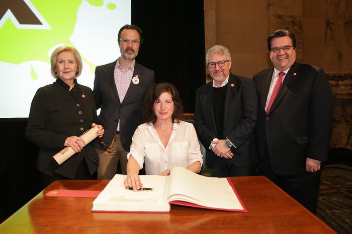 Andrée Lachapelle. domlebo, Andréane Mélançon, Benoît Brière et le maire Denis Coderre. Photo : Ville de Montréal