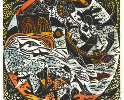 René Derouin, Constellation XI – Série Fleuve-Mémoire 1994-2014 Linogravure rehaussée d'aquarelle, 38cm X 28cm, 2014 Photo : Lucien Lisabelle