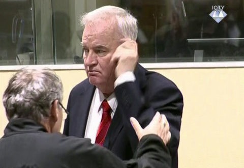 Bosnian Serb military chief Ratko Mladic after an angry outburst in the Yugoslav War Crimes Tribunal in The Hague, Netherlands, Wednesday, Nov. 22, 2017. The United Nations' Yugoslav war crimes tribunal ordered Bosnian Serb military chief Gen. Ratko Mladic out of the courtroom over an angry outburst during Wednesday's verdict determining whether he is guilty of genocide, crimes against humanity and war crimes over Bosnia's devastating 1992-95 war. (ICTY via AP)