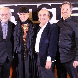 Raôul Duguay, Nathalie Bondil, André Michel et Robert Lepage.