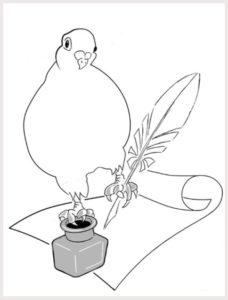 Illustration. Colombe, encrier et plume. MVT-France